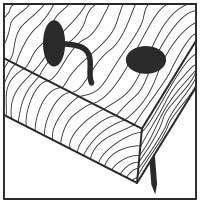 Holz mit ungehärteten Nägeln