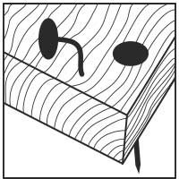 Holz mit gehärteten oder Edelstahl-Nägeln und Schrauben